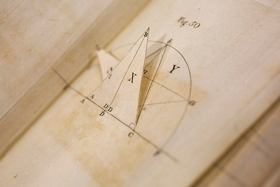 Movable books — featuring simpler construction, like flaps and revolving discs — predate pop-ups. This example is one of the earliest from Harvard's collections; the diagram and flap teach mathematicians and artists to understand perspective.
