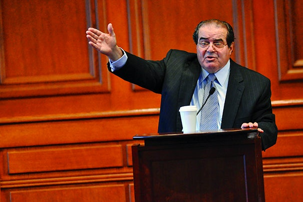 Justice Scalia delivered the inaugural Vaughan Lecture in 2008, one of several occasions he returned to Harvard to speak.