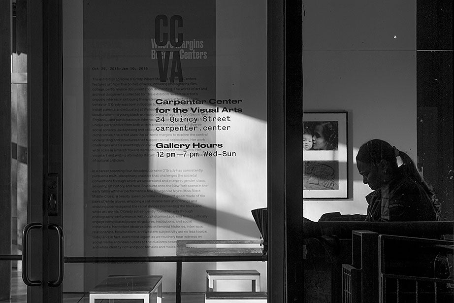 Afternoon light pours through the windows of the Sert Gallery in the Carpenter Center, where Margarita Ortiz works as a security guard.