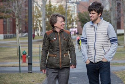 """When sophomore Matthew DeShaw (right) chose a concentration in the humanities, he felt the need to defend his choice. It was Professor Kathleen Coleman who explained that an undergraduate degree in classics is the """"quintessential interdisciplinary training"""" that could take him into any field."""