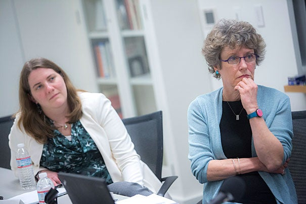 The Weatherhead Center for International Affairs is funding a new interdisciplinary initiative on the study of gender inequality, among whose six participants are Claudia Goldin, Henry Lee Professor of Economics (not pictured), Alexandra Killewald (left), an associate professor of sociology, and Mary Brinton (right), the Reischauer Institute Professor of Sociology and chair of the Department of Sociology.