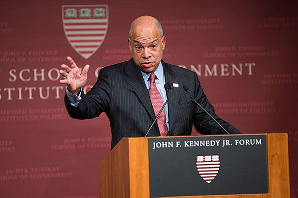 """It's crucial in the current phase we're in, we build bridges to the Muslim communities in this country and not vilify them and drive them into the margins of our society,"" said U.S. Secretary of Homeland Security Jeh C. Johnson during an address Monday evening at the Harvard Kennedy School."