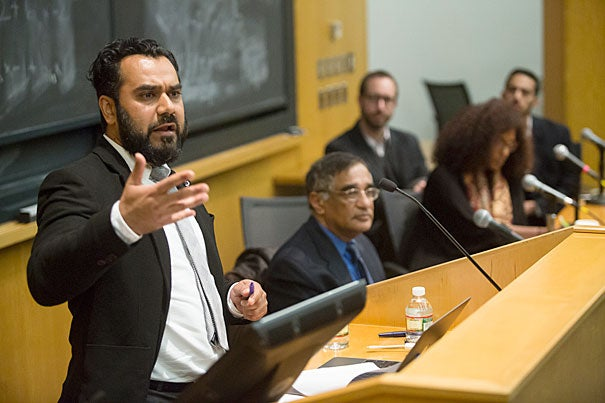 Professor Arshad Ali (left) of George Washington University participated in a panel on the rising anti-Muslim sentiment in the United States.
