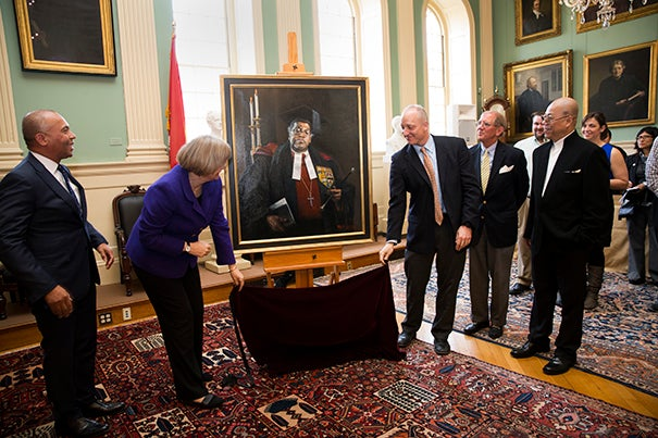"Former Gov. Deval Patrick (from left), Harvard President Drew Faust,  Michael D. Smith, the Rev. Wendel ""Tad"" Meyer, and artist Yuqi Wang unveiled Wang's portrait of the Rev. Professor Peter J. Gomes."