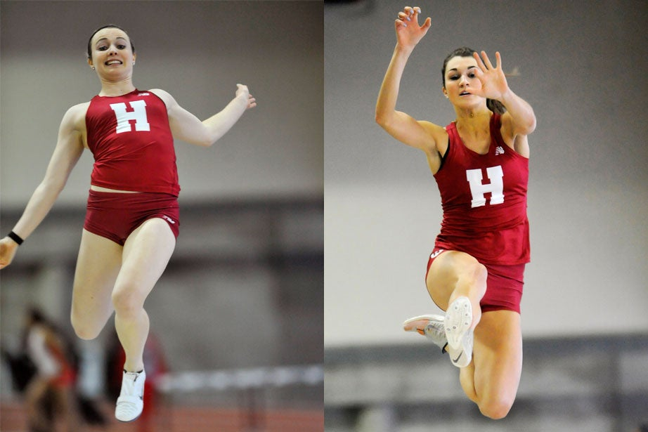 Crimson Elite track and field meet. Haley Baker '17, left,  leaps for a distance of 16 feet 11.5 inches (5.17 meters) in the long jump.  Allison Morrison '16, right, gets some good air time in the long jump. She also placed third in the 400 meters.