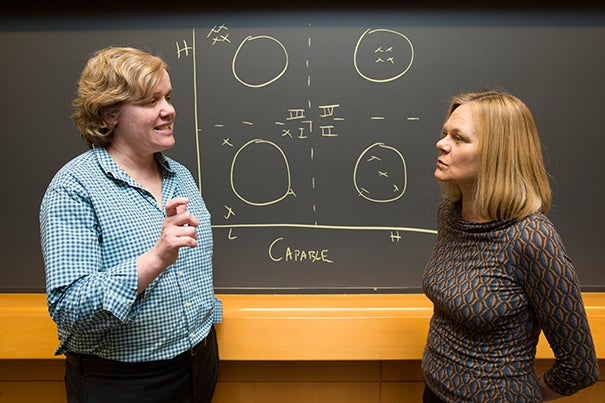 Frances Frei (left), a professor of business management and technology, and classics professor Emma Dench teamed up last semester to lead an experimental elective at Harvard Business School that used classic Roman and Greek writings to provoke deep discussions and reflections on what makes a successful leader.