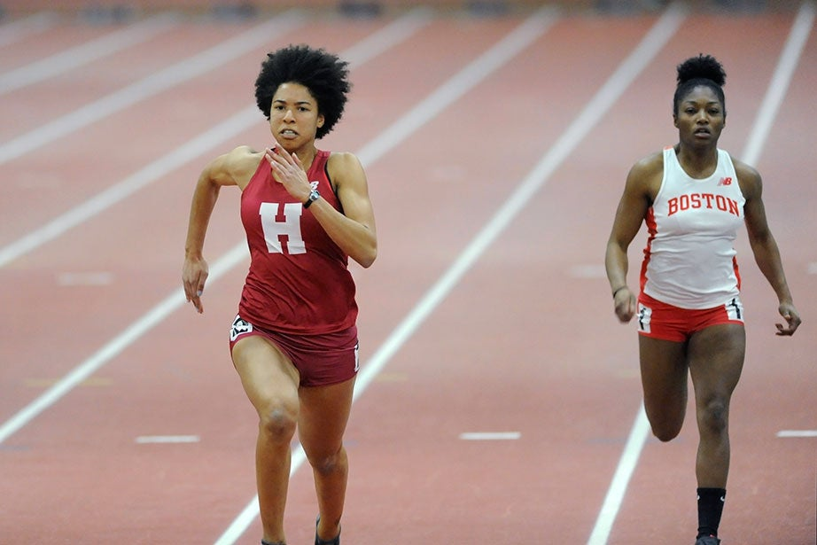 Sylvia Deppen '17 runs a heat of the 60-meter dash in 7.84 seconds.