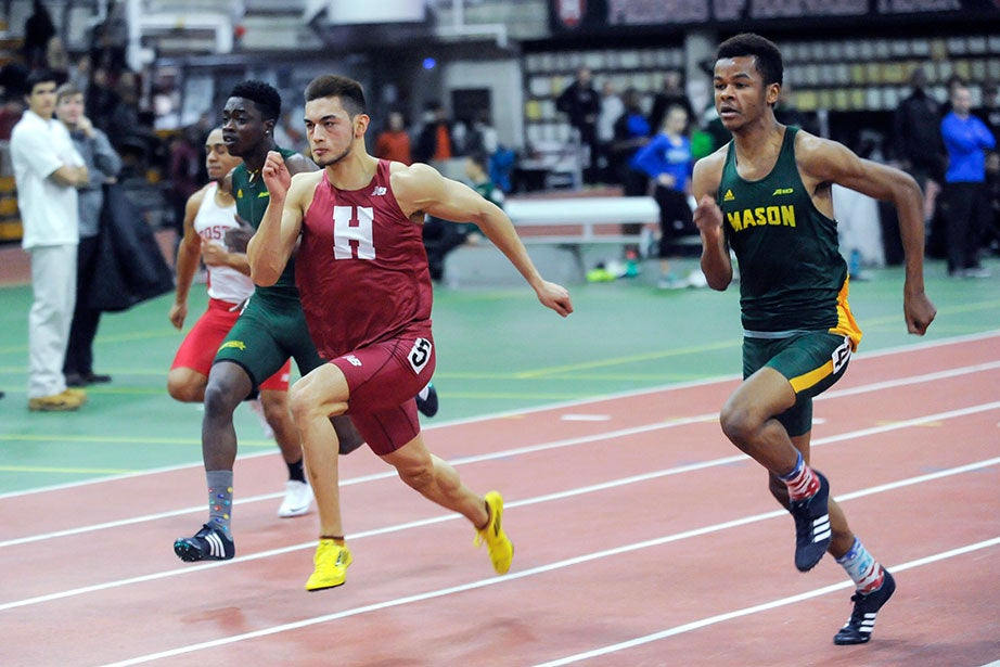 Max Mondelli '18 runs to a fourth-place finish in the 60 meters at the Crimson Elite track and field meet.