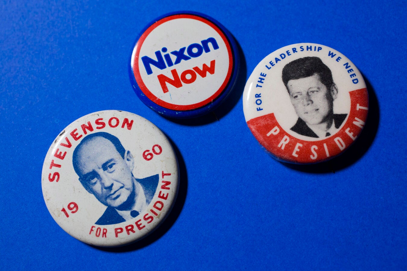 Adlai Stevenson, Richard Nixon, and John F. Kennedy represent three candidates from the 1960 presidential election.