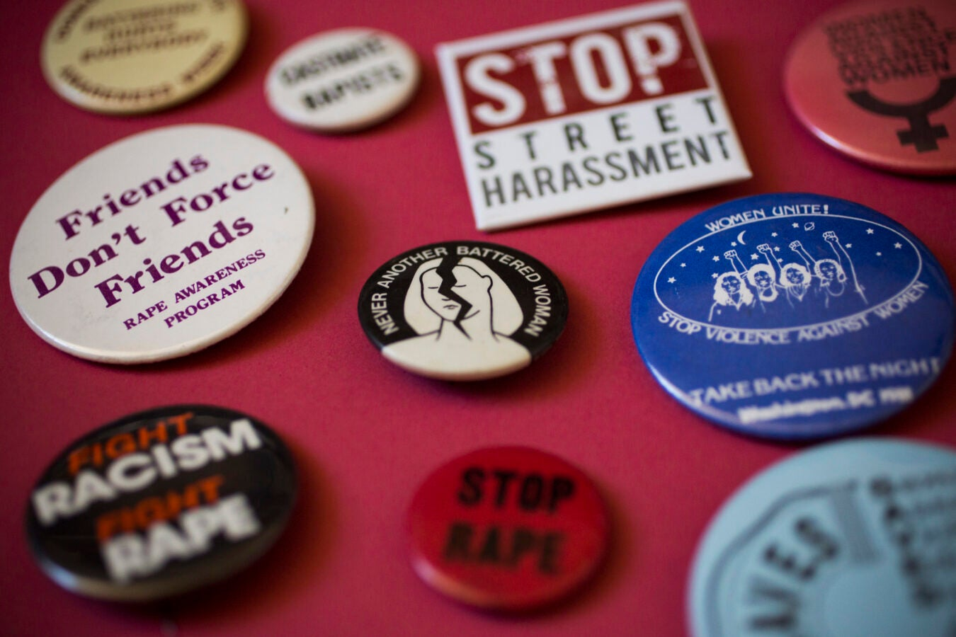 Stop Violence Against Women buttons.