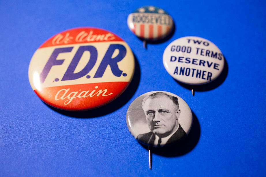 Campaign buttons for Franklin Delano Roosevelt, the only U.S. president to serve more than two terms.