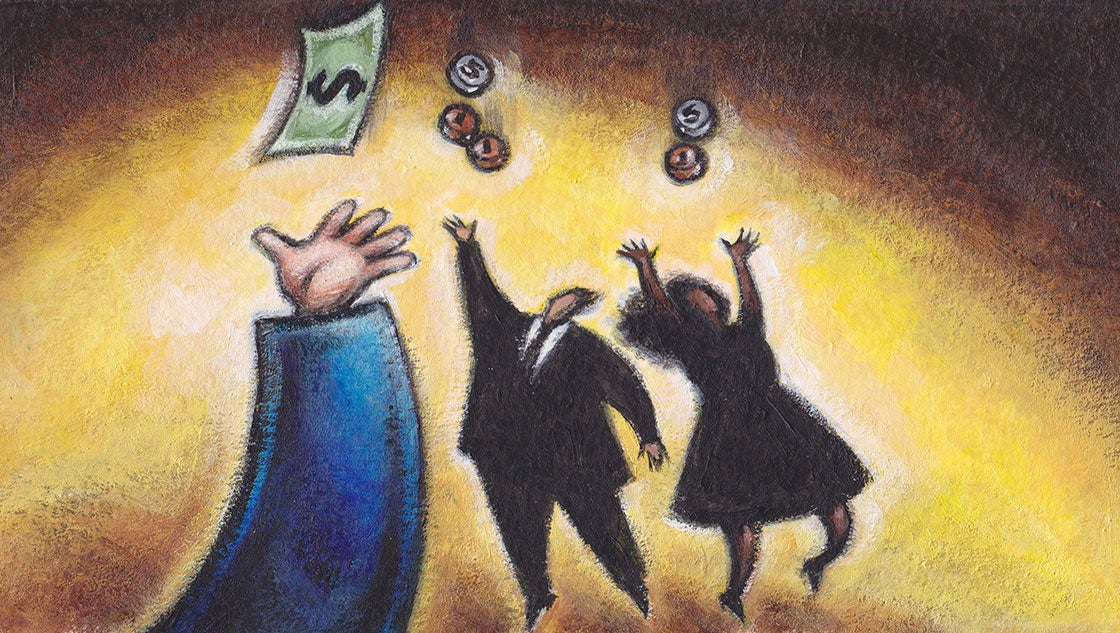 Illustration of white businessman catching a dollar and colleagues of color catching coins.