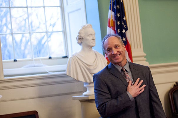 "Michael D. Smith, the Edgerley Family Dean of the Faculty of Arts and Sciences, presented the annual Dean's Distinction Awards to a group of FAS staff. ""You are a fantastic portrait of the best of our staff,"" Smith told honorees at this year's event. Since its inception, the number of award recipients has grown. In 2012, Smith (pictured here at the ceremony) honored 44. This year, 65 were recognized."
