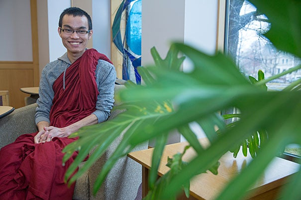 """Tajay Bongsa, a Buddhist monk, plans to explore the connections between social and economic justice. """"One of the things we learn at HDS is how much we can give back to society,"""" he says.  """"Religion, in relation to entrepreneurship, is still an unexplored territory."""""""
