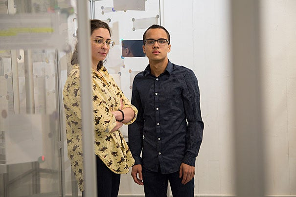 Harvard College students Delfina Martinez-Pandiani (left) and Devon Guinn are the forces behind a student-led art installation that will go into the Houses, and then appear in Tercentenary Theatre, as a response to concerns raised by a recent survey about sexual conduct on campus.