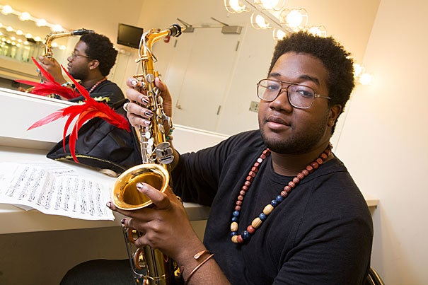 """Joshuah Campbell '16 has performed with the Krokodiloes, the Hasty Pudding Theatricals, and other student groups during his time at Harvard. """"I'm always honored when someone says they want to work with me or sing with me,"""" he says. """"I'm blessed to share my gifts and I also, in turn, want to see the work they are doing."""""""
