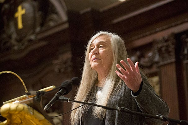 """It is the absence of divinity that dehumanizes nature,"" Pulitzer Prize-winning author Marilynne Robinson told a crowd at the Memorial Church during her lecture ""The Divine."""