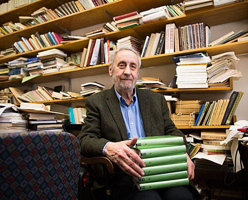 """Harvard Professor Stephen Owen spent eight years translating the complete works of Chinese poet Du Fu. """"I didn't believe it until I held it in my hand,"""" he admitted. The finished volumes weigh nine pounds and comprise 3,000 pages."""