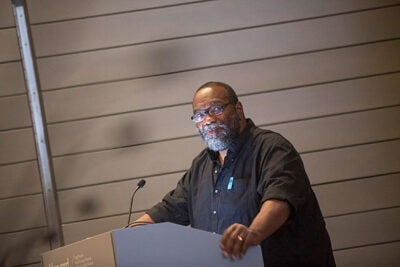 "Poet Fred Moten, a professor at the University of California, Riverside, delivered opening remarks at ""Bending Toward Justice,"" a symposium held at the Harvard Art Museums."