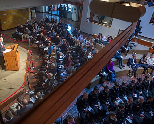 U.S. Secretary of the Navy Ray Mabus marked the five-year anniversary of NROTC's return to Harvard in an address at the Kennedy School.