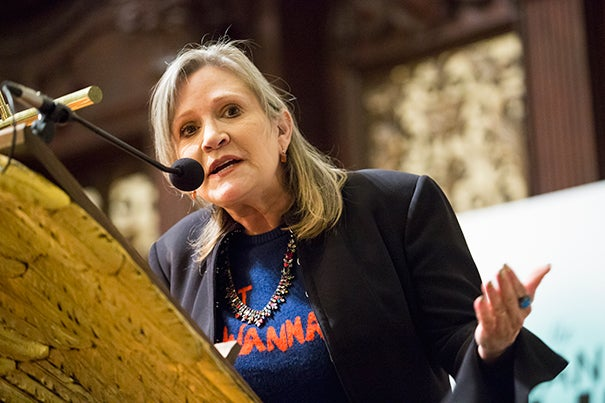 """This is as close to a college education that I will ever get,"" said Carrie Fisher after receiving the Outstanding Lifetime Achievement Award in Cultural Humanism at the Memorial Church.  ""I want to thank you for playing the music from 'Star Wars,' and I was really worried that you were not going to play my theme. Not many people have a theme, but I do."""