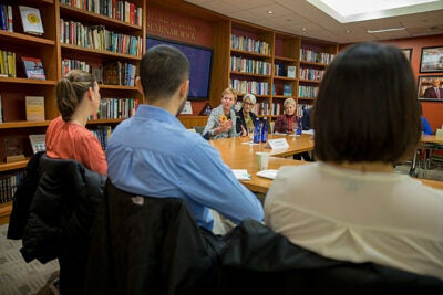 Former ambassadors Kristie Kenney (from left), Wendy Sherman, and Swanee Hunt discussed the shifting international landscape and their experiences as women in senior diplomatic roles with students at the Center for Public Leadership at the Harvard Kennedy School.