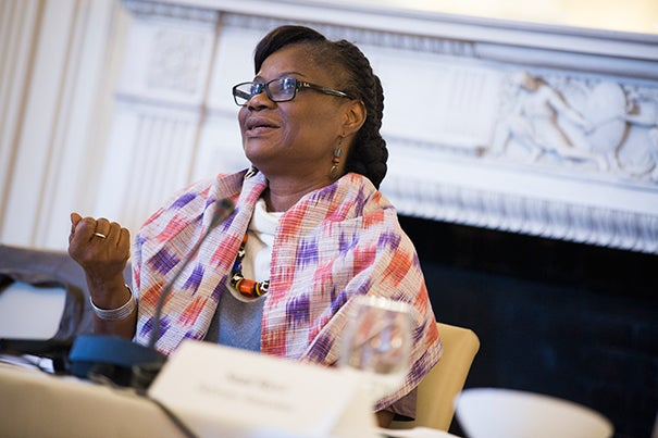 "Rosine Coulibaly, Burkina Faso's minister of economy, finance, and development, attended a workshop sponsored by the Ministerial Leadership in Health Program. Coulibaly said she found the discussion ""very useful."""