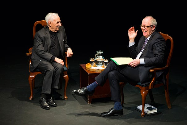 Harvard Arts Medal recipient Frank Gehry (left) shared a heartfelt and humorous conversation with actor John Lithgow '67, Art.D. '05.
