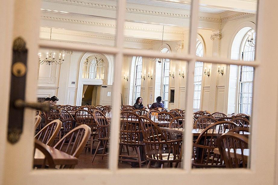 A look inside the Kirkland House dining hall on a sunny morning.