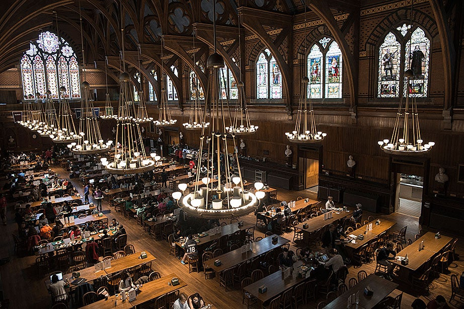 Annenberg Hall is utilized by Harvard College freshman for dining. Named in memory of Roger Annenberg '62 and inspired by the great halls of Oxford and Cambridge, the hall covers an expansive 9,000 square feet.