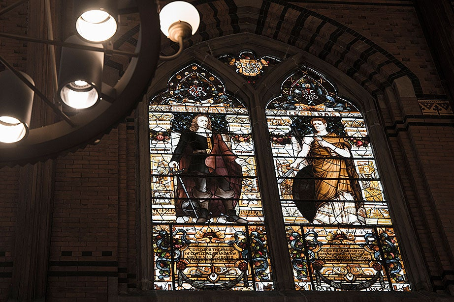 The stained-glass windows in Annenberg Hall are an important element of its decor. They comprise a veritable museum of American stained glass, representing a variety of designers, manufacturers, and techniques.