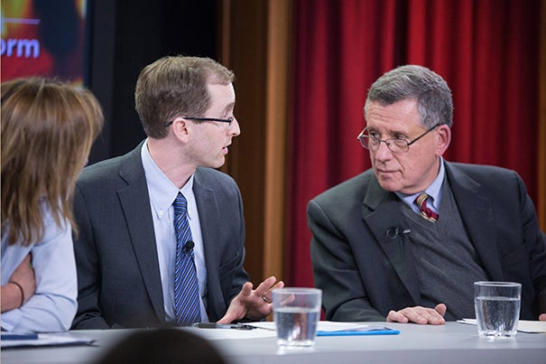 "Panelists Katherine Hempstead (from left), Benjamin Sommers, and Robert Blendon spoke about the positive effects and the limits of the Affordable Care Act at the Harvard T.H. Chan School of Public Health. Blendon noted, ""Insurance alone does not improve the lives of those in the low-income community."""
