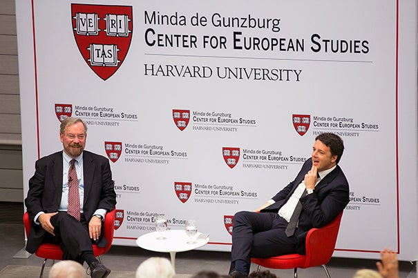 """""""The terrorists who killed people in Brussels … they didn't come from Syria or from Libya or Tunisia or Afghanistan,"""" said Italian Prime Minister Matteo Renzi (right) during his talk at Harvard. """"They grew up in Europe."""" Talking with Renzi was Professor Peter A. Hall, Krupp Professor of European Studies, who is a CES resident faculty."""