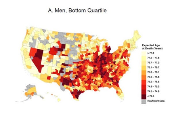 For low-income people, the darker colors on the bar and related map indicate the lowest life expectancy — fewer than 74.5 years. The lighter colors indicate a life expectancy of more than 77.8 years. Courtesy of David Cutler