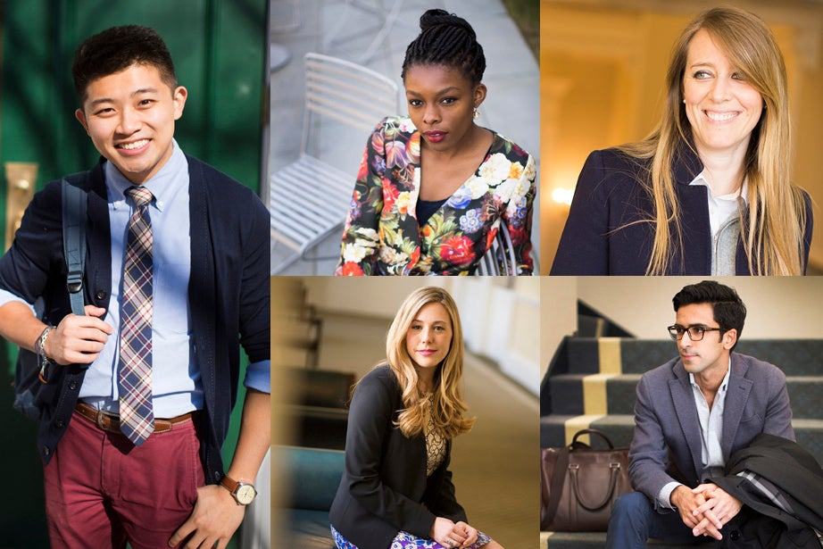 A timeless, clean aesthetic flourishes at HBS with Taniel Chan (clockwise from left), Olamide Oladipo, Alessandra Pelliccia, Nikhil Lohchab, and Christy Stine.