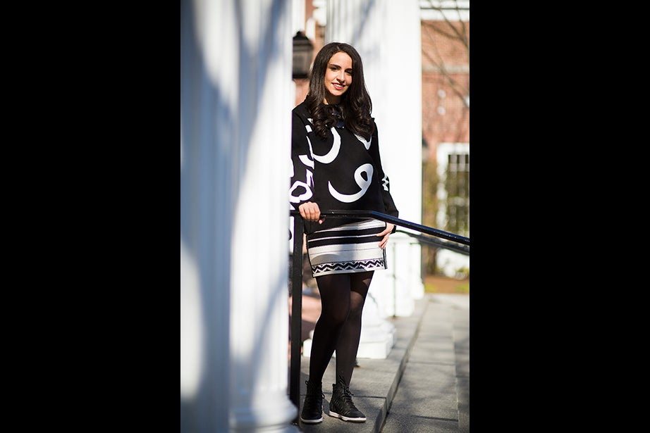 """I like to keep it pretty simple in terms of what I wear. I do like to mix prints. I'm Middle Eastern and I think that inspires the prints I choose to wear,"" says student Janine Khraishah. Fashion icons: ""I like Emma Stone because she is not afraid to mix it up with color. I like Amal Alamuddin because she is very good at looking classy but has fun with her style at the same time. And Michelle Tanner — it's all about the '90s."" Style at HBS: ""It's very fashionable but with a clean aesthetic. People look good, but not like they tried too hard to look good."""