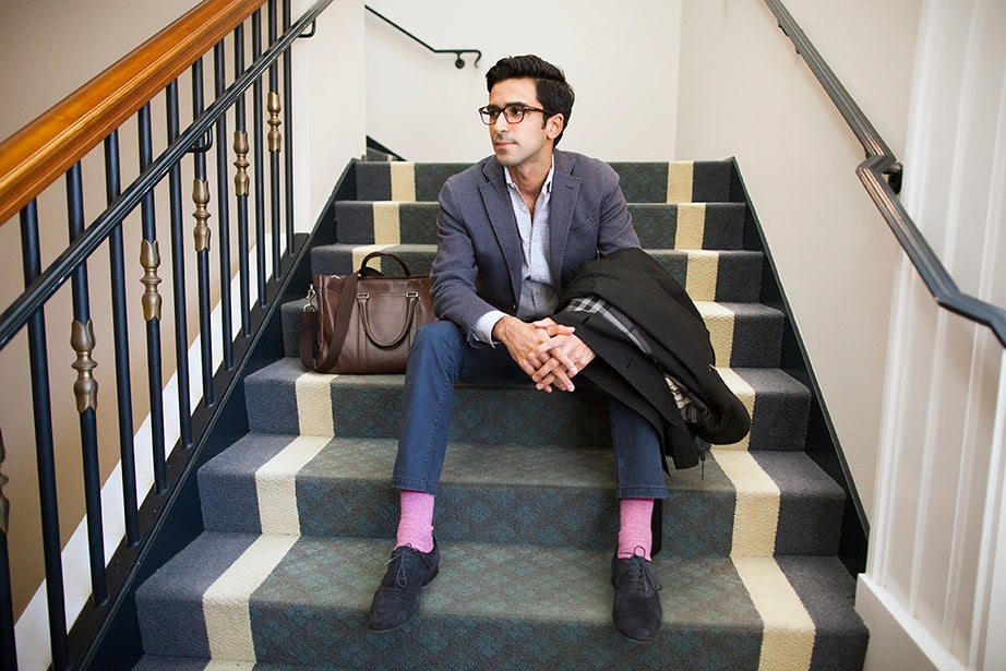 """""""I think fashion makes you look good, but style is what is intrinsic and makes you feel good,"""" says student Nikhil Lohchab. Style philosophy: """"The core of the way you want to present yourself comes from your style."""" Fashion icon: Tom Ford. Reading: """"Dark Money"""" by Jane Mayer."""