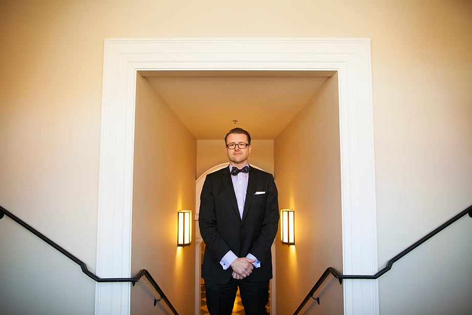 "Dylan Minor, visiting assistant professor of the strategy unit, favors pocket squares and bow ties. ""They can have an amazing degree of variety,"" Minor says. ""They should complement, but not match, each other."" Style philosophy: ""To be fashion-forward but not too forward. I really appreciate J. Crew and read GQ."" Listening to: ""GoGo Penguin is my go-to music when I'm working."" Reading: ""New Morning Mercies: A Daily Gospel Devotional"" by Paul David Tripp."