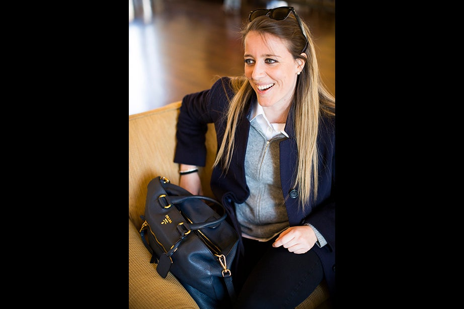 """I like bags. I go crazy with bags,"" says student Alessandra Pelliccia. Style philosophy: ""Classy, simple, and quality. I don't define myself as a stylish person, but I really value quality, tailor-made materials. I try to stick with natural materials like cashmere, wool, cotton, linen, silk."" Fashion icon: ""A designer from my hometown, Brunello Cucinelli, who is very well known for his cashmere."" Reading: ""I was reading 'The Predators' Ball' over Christmas, but then we started school, and I'm just reading cases."""