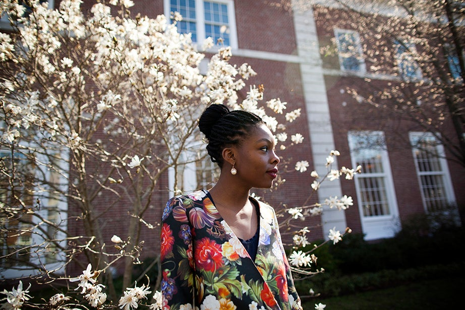 """I find that dressing is a deeply personal thing and has a lot more to do with sense of self than with just clothing,"" says student Olamide Oladipo. Style philosophy: ""It's very important to identify pieces that speak to you, to which you have an emotional connection or relationship, whether it brightens your day, or it reminds you of an experience or some aspect of yourself or your background. My own style is eclectic. It can be very polished. It can also be very casual. I'm drawn to lots of colors. But I love uniform dressing. I love wearing all navy or black with pops of color."" Reading: ""Between the World and Me"" by Ta-Nehisi Coates. ""My dad is a doctor and author, and he just wrote another book, a medical novel titled 'A Patient Called Emma.'"""