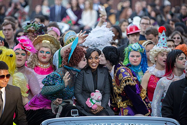 Kerry Washington, Hasty Pudding Woman of the Year, leads a parade through Harvard Square with Hasty Pudding Theatricals President, Robert Fitzpatrick '16 (left) and Vice President of the Cast Chaffee Duckers '16 (right). Kris Snibbe/Harvard Staff Photographer