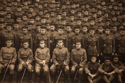 The University has a long connection with the U.S. military, as shown in this photo of Harvard ROTC in 1917. After a 40-year hiatus, the Navy ROTC program returned to campus in 2011, followed by the Army ROTC in 2012 and the Air Force ROTC last month.