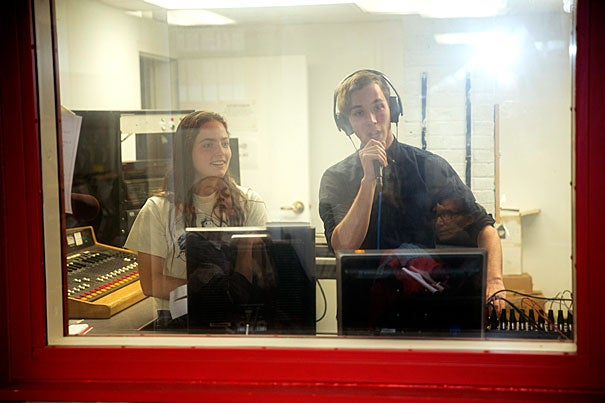 WHRB, Harvard's student radio station, is a home for offbeat and creative music. Student DJs Hannah Kates '18 (from left) and Jason Stein '18 work in the station's sound booth in Pennypacker Hall.