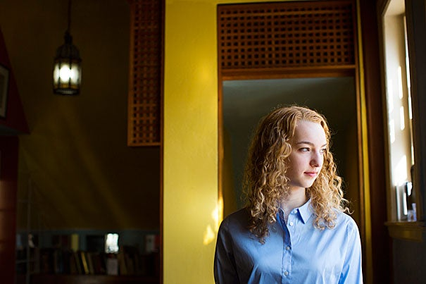 """Rivka Hyland '16, who has been named a Rhodes scholar, graduates this year with a concentration in Near Eastern Languages and Civilizations and Islamic Studies. """"It's one world and you have to study all of it,"""" she said."""