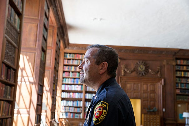 """Christos Hatzopoulos, who will graduate from Harvard Extension School, is a detective with the Harvard University Police Department. """"History was never a dead science for me,"""" he said. """"I've been reading history books my whole life for pleasure."""""""