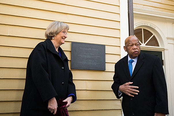 The plaque mentioned the four slaves by name. Rose Lincoln/Harvard Staff Photographer