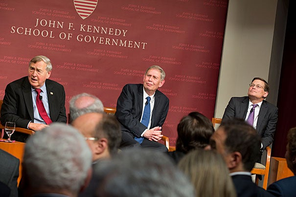 Harvard Kennedy School Belfer Center director Graham Allison (left) led a panel discussion featuring head of Mossad Tamir Pardo (center) and former CIA director Michael Morell (right). They discussed threats from the Islamic State, in Israel and elsewhere.