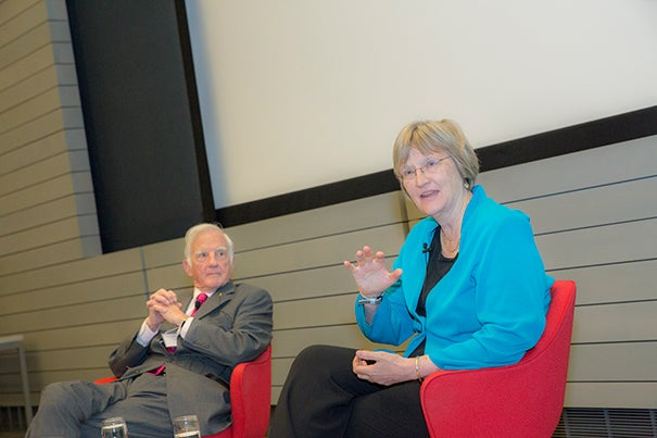 """The Derek Bok Center for Teaching and Learning celebrated its 40th anniversary with a conversation between President Drew Faust (right) and President Emeritus Derek Bok. Faust praised the center for having been """"transformational for higher education and certainly for this institution."""""""