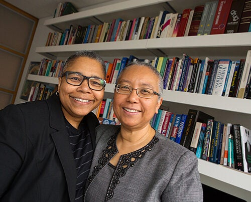 Latanya Sweeney (left) and Sylvia Barrett were named the new Currier House faculty deans. They will begin in the fall. Sweeney is professor of government and technology in residence and director and founder of the Data Privacy Lab at Harvard. Barrett is an attorney specializing in business law.