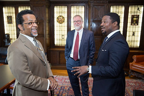 Former Pentecostal televangelist Carlton Pearson (from left), who donated his archive to the Andover-Harvard Theological Library, met with Douglas Gragg of the Andover-Harvard Theological Library and Jonathan L. Walton, Plummer Professor of Christian Morals and Pusey Minister in the Memorial Church.